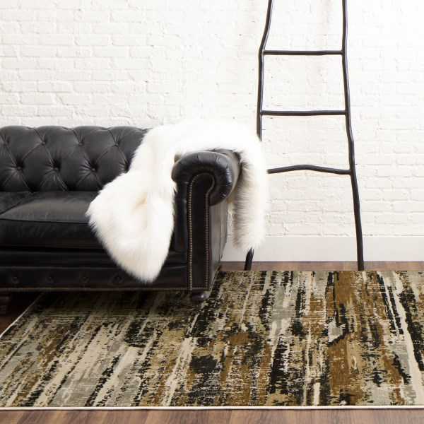 Brown, Grey, Black (Midnight) Contemporary / Modern Area Rug