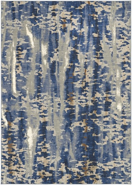 Blue, Grey, Beige (Cobalt) Contemporary / Modern Area Rug