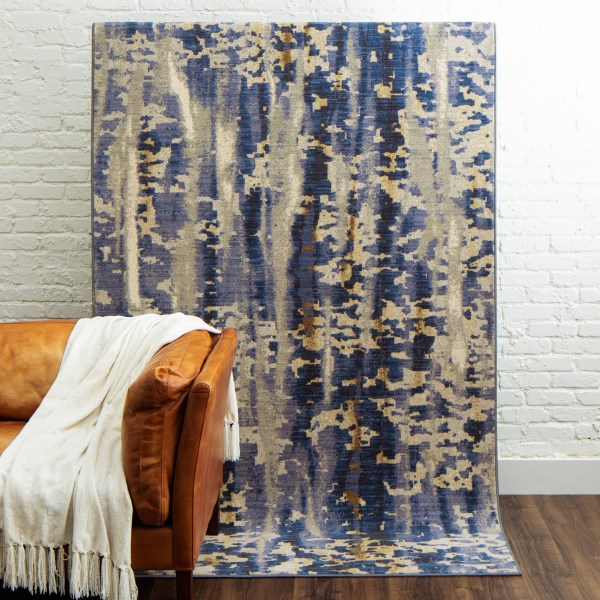 Blue, Grey, Beige (Cobalt) Contemporary / Modern Area Rug
