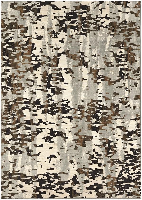 Beige, Grey, Black (Midnight) Abstract Area Rug