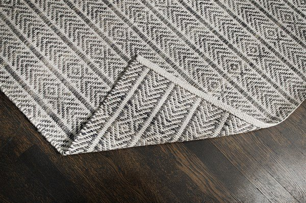 Grey, Ivory  Chevron Area Rug