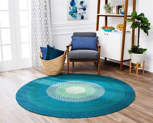 Blue, Green, Ivory Bohemian Area Rug