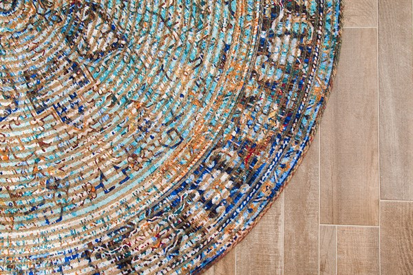Teal, Blue, Orange Bohemian Area Rug