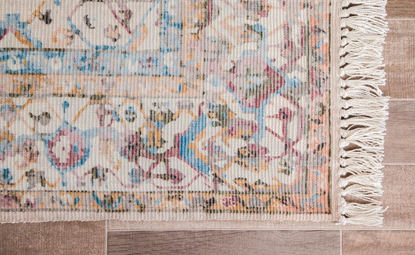 Cream, Teracotta, Teal Vintage / Overdyed Area Rug