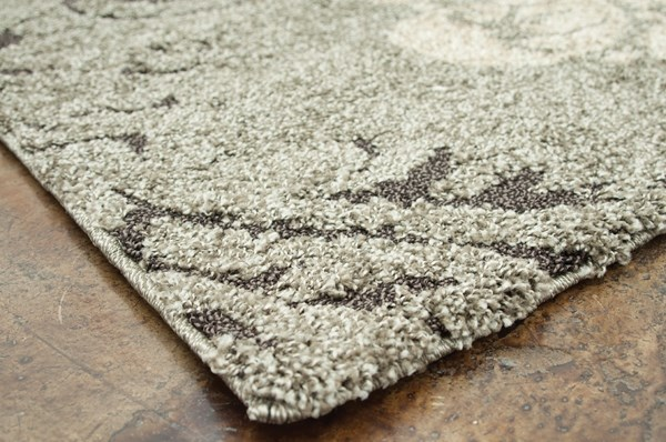 Smoke, Beige Damask Area Rug