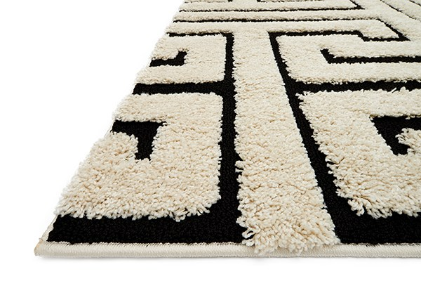 White, Black Transitional Area Rug