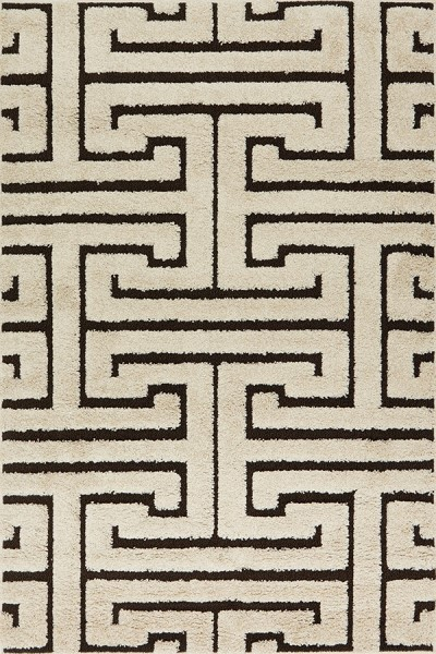Ivory, Dark Brown Transitional Area Rug