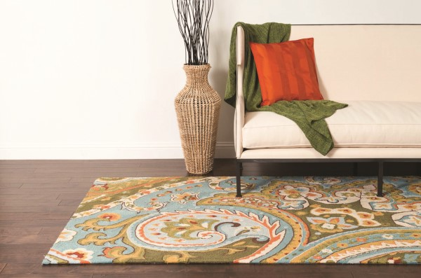 Blue, Green Traditional / Oriental Area Rug