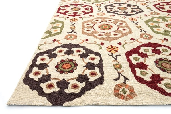 Beige, Red Moroccan Area Rug