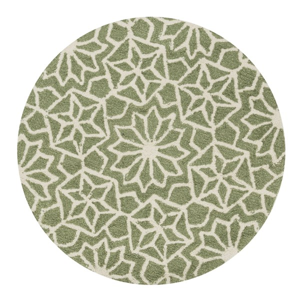 Green, Ivory Moroccan Area Rug