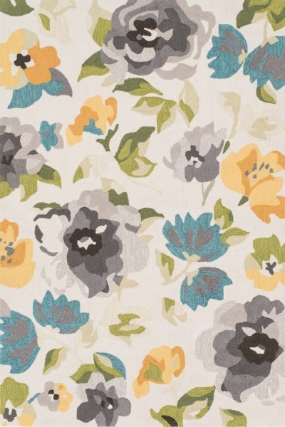 Gray, Yellow Floral / Botanical Area Rug