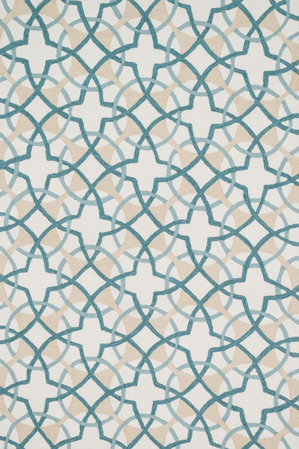 Ivory, Teal Moroccan Area Rug