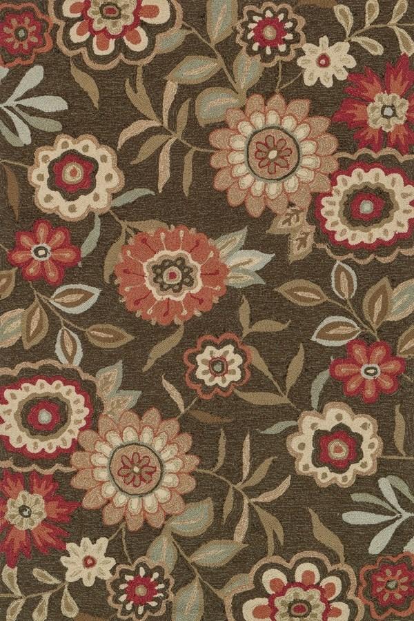 Brown, Red Floral / Botanical Area Rug