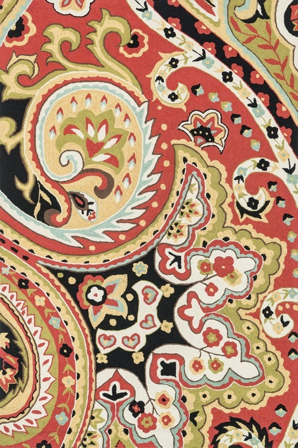 Red, Black Paisley Area Rug