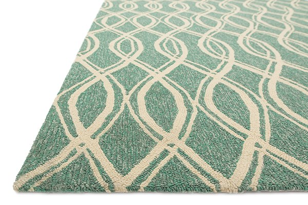 Turquoise, Ivory Transitional Area Rug