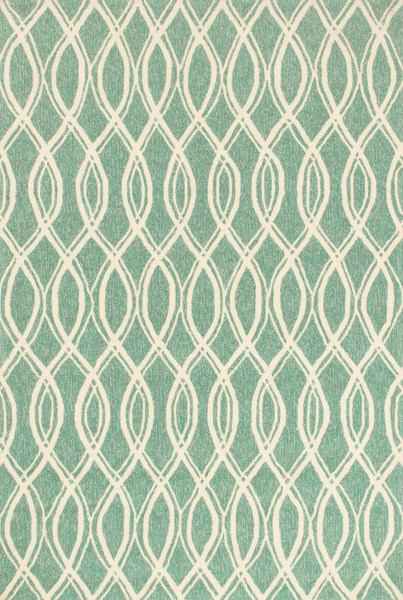 Turquoise, Ivory Contemporary / Modern Area Rug