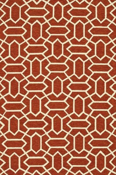 Rust, Ivory Contemporary / Modern Area Rug