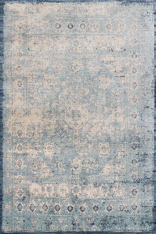 Light Blue, Ivory Vintage / Overdyed Area Rug
