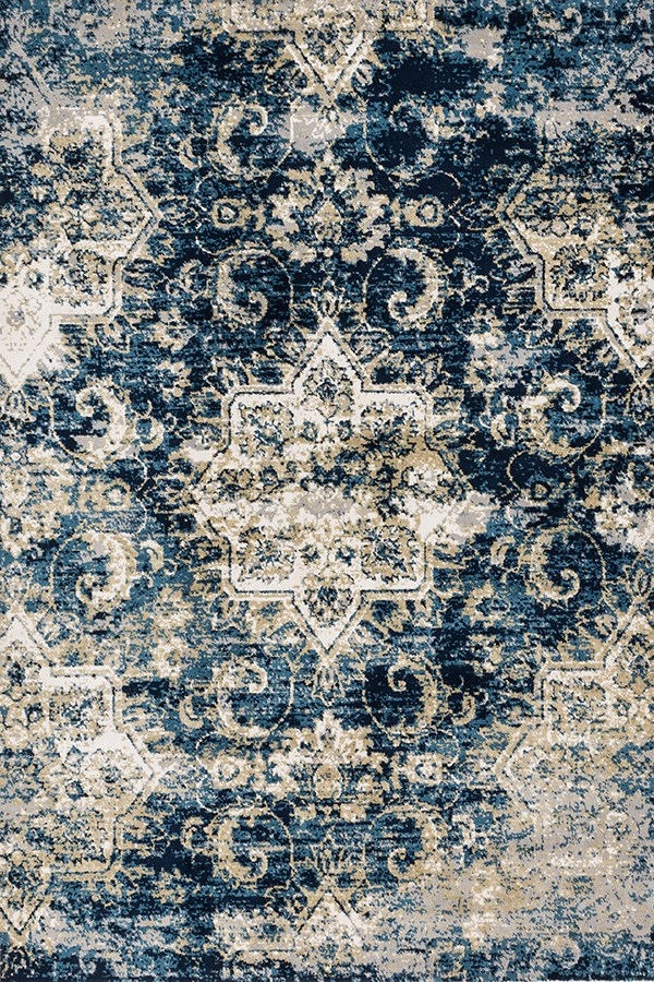 Navy, Ivory Rustic / Farmhouse Area Rug