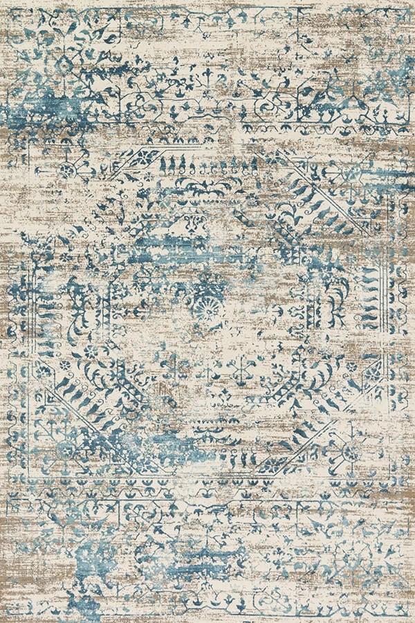 Ivory, Blue Vintage / Overdyed Area Rug