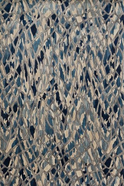 Artic Blue, Silver Contemporary / Modern Area Rug