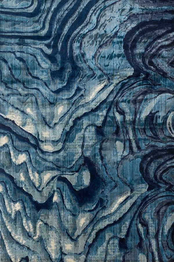 Indigo, Blue Contemporary / Modern Area Rug