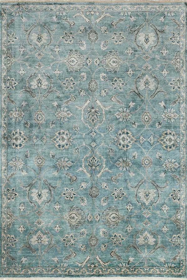 Blue, Fog Traditional / Oriental Area Rug