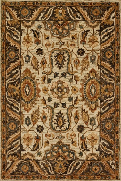 Ivory, Dark Taupe Traditional / Oriental Area Rug