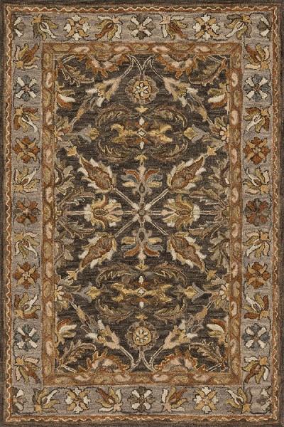 Dark Taupe, Grey Traditional / Oriental Area Rug