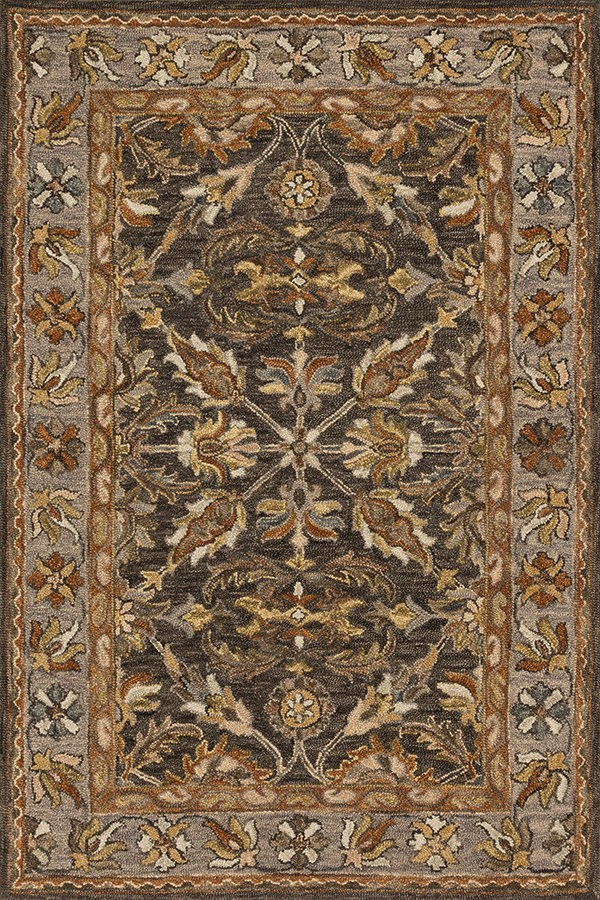 Dark Taupe, Grey Traditional / Oriental Area Rug