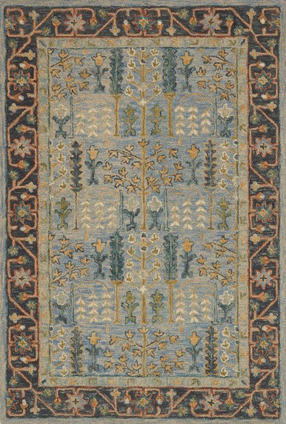 Light Blue, Dark Blue Traditional / Oriental Area Rug