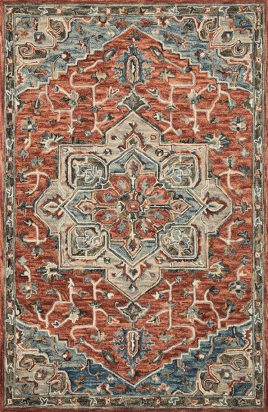 Red, Blue, Ivory Traditional / Oriental Area Rug