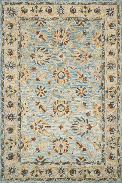 Light Blue, Natural Traditional / Oriental Area Rug