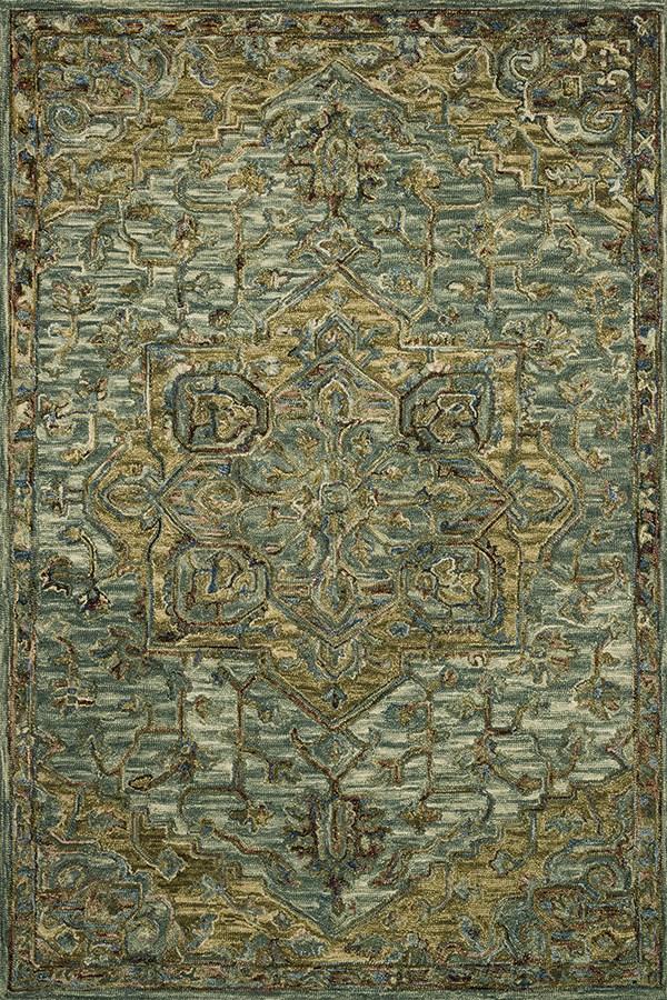 Dark Green, Tobacco Traditional / Oriental Area Rug