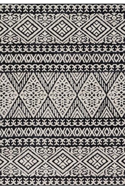 Black, Silver Moroccan Area Rug