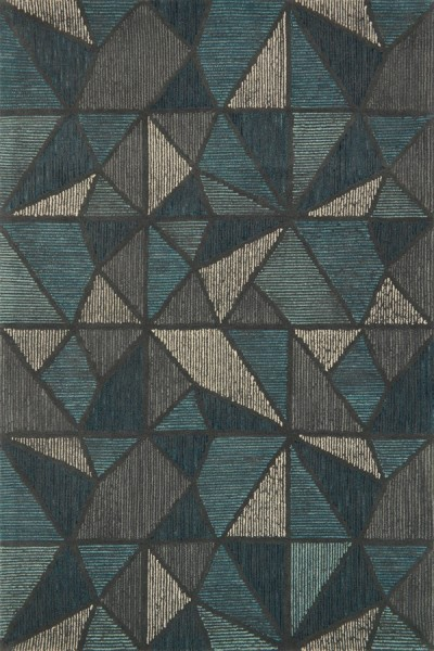 Teal, Grey Contemporary / Modern Area Rug