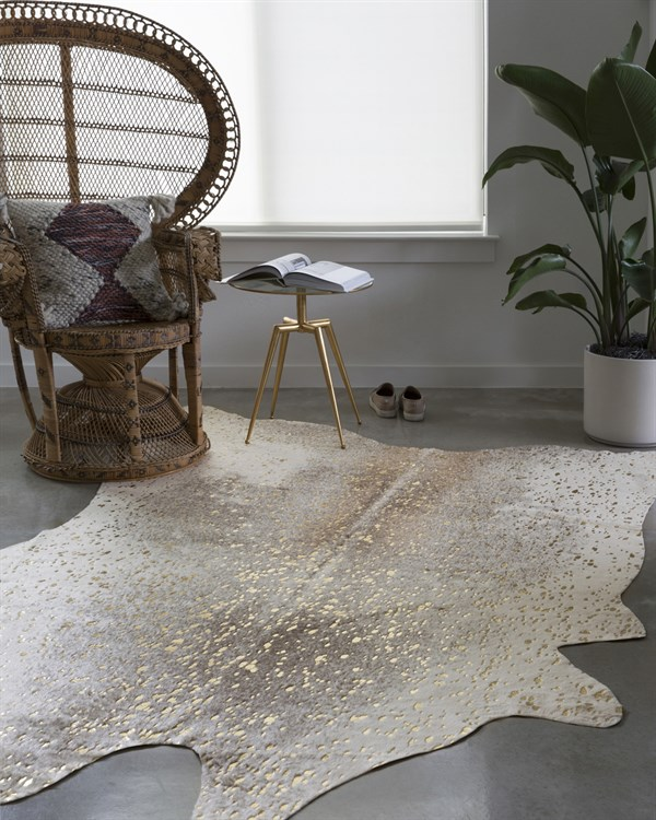 Pewter, Gold Animals / Animal Skins Area Rug