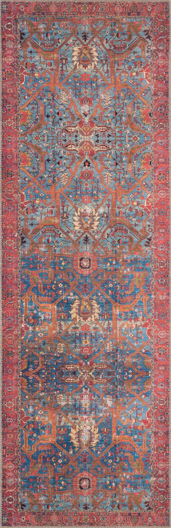 Blue, Red Vintage / Overdyed Area Rug