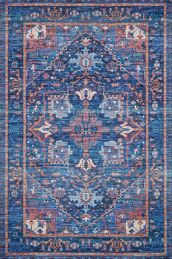 Blue, Orange Traditional / Oriental Area Rug