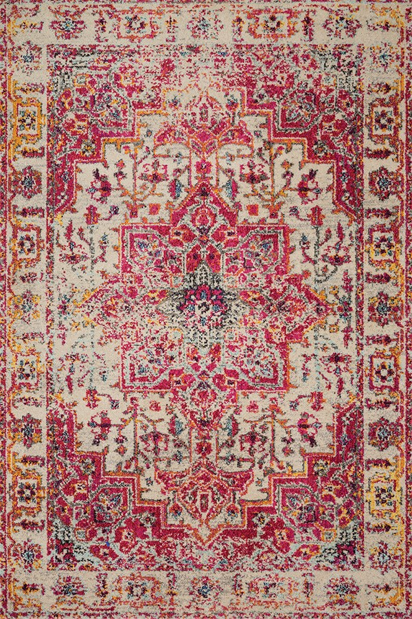 ivory, Pink Traditional / Oriental Area Rug