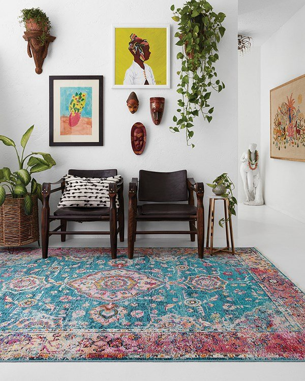 Teal, Berry Traditional / Oriental Area Rug