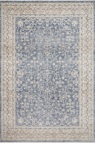 Dark Blue, Ivory Traditional / Oriental Area Rug