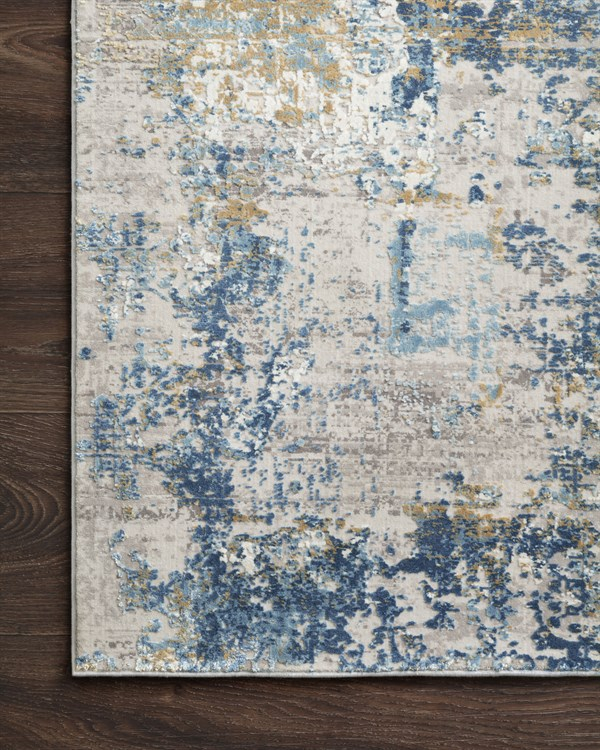 Grey, Blue Abstract Area Rug