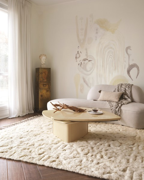 Oatmeal, Ivory Contemporary / Modern Area Rug