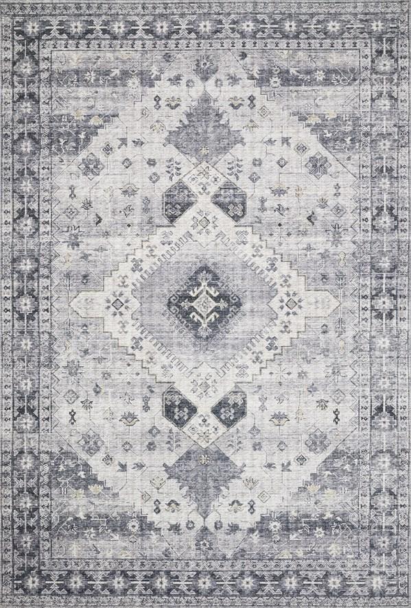 Silver, Grey Traditional / Oriental Area Rug