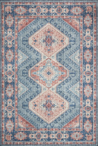 Turquoise, Terracotta Traditional / Oriental Area Rug