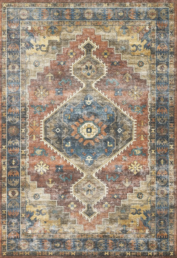 Rust, Blue Traditional / Oriental Area Rug