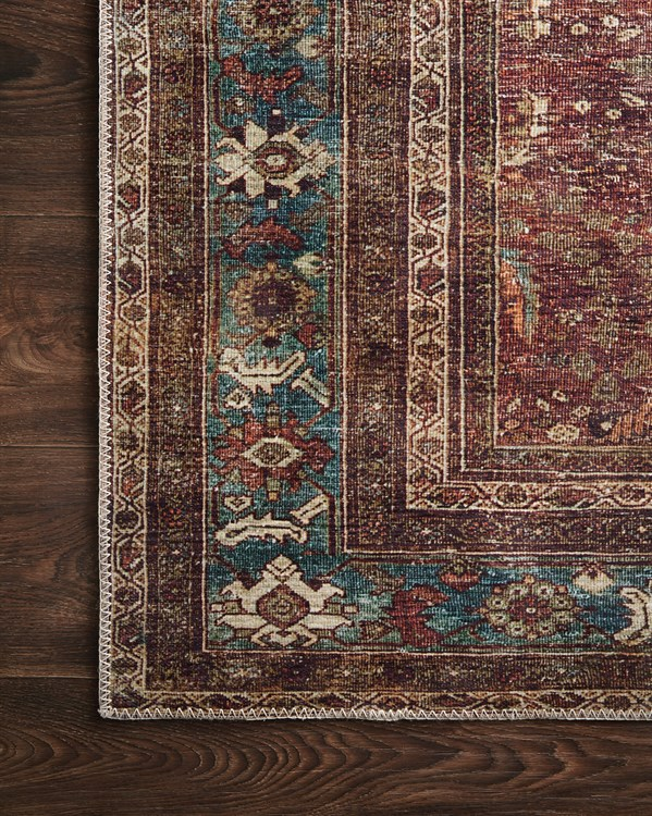 Brick, Blue Traditional / Oriental Area Rug