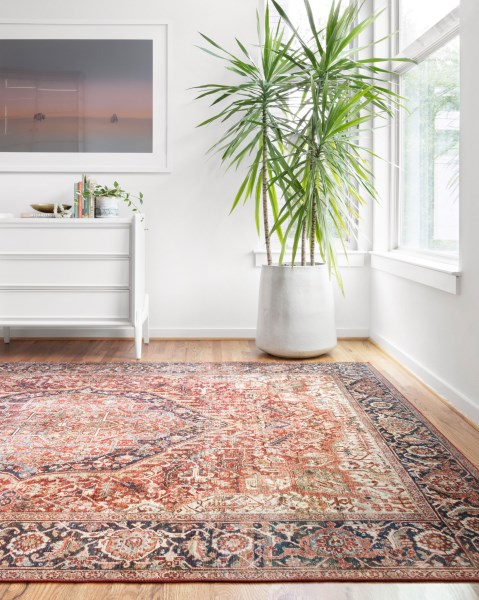 Red, Navy Traditional / Oriental Area Rug