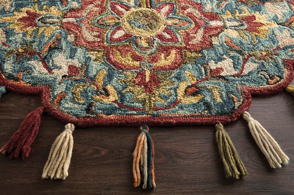 Blue, Red Moroccan Area Rug